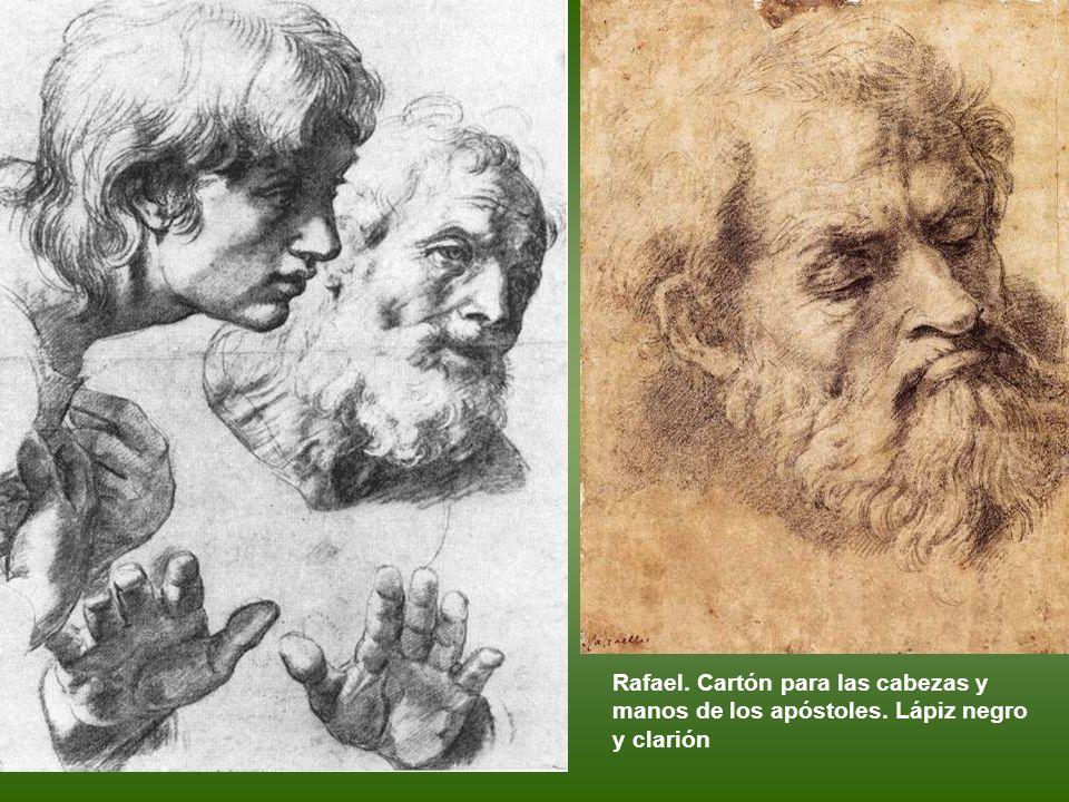 Rafael. Cartón para las cabezas y manos de los apóstoles
