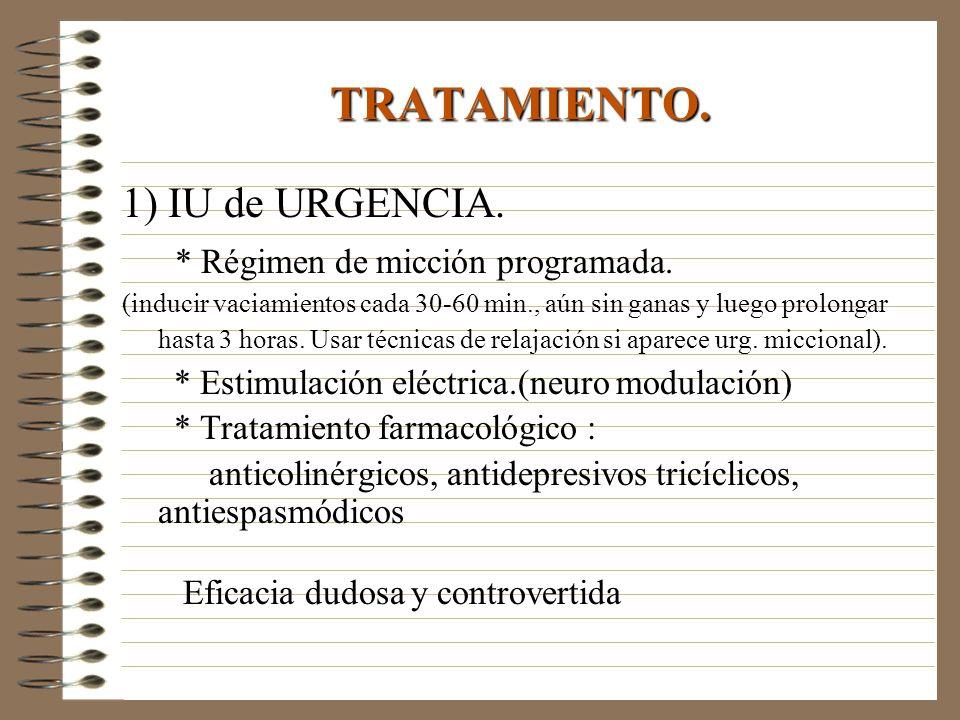 TRATAMIENTO. 1) IU de URGENCIA. * Régimen de micción programada.