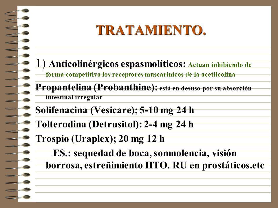 TRATAMIENTO. 1) Anticolinérgicos espasmolíticos: Actúan inhibiendo de forma competitiva los receptores muscarínicos de la acetilcolina.