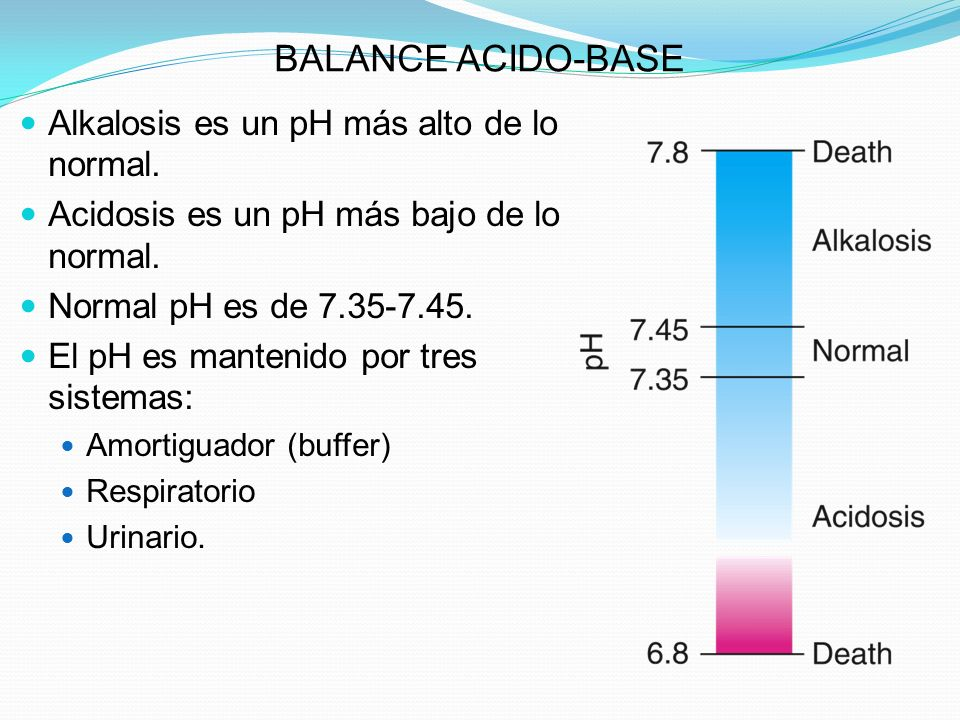 BALANCE ACIDO-BASE Alkalosis es un pH más alto de lo normal.