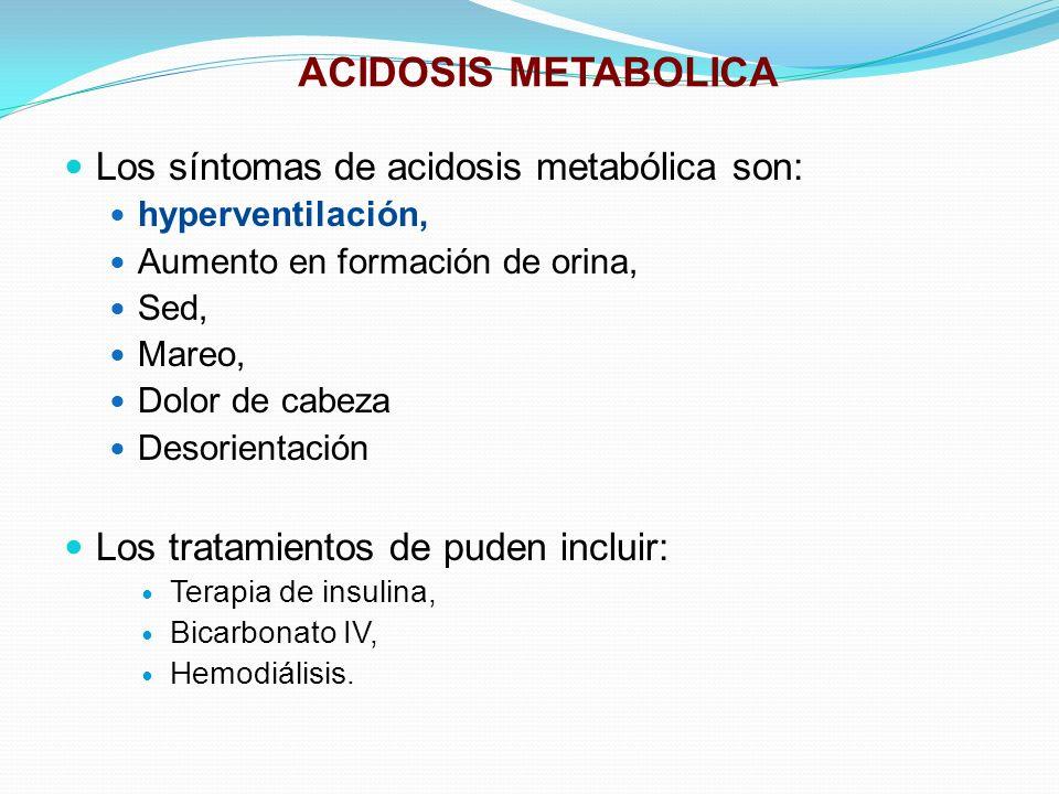 ACIDOSIS METABOLICA Los síntomas de acidosis metabólica son: