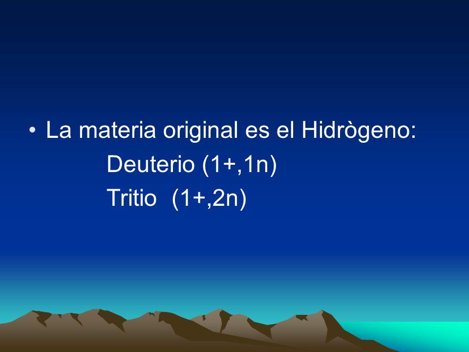 La materia original es el Hidrògeno: