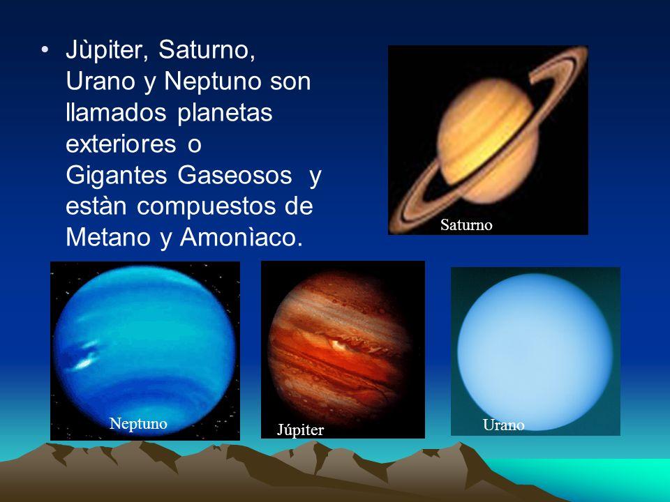 Jùpiter, Saturno, Urano y Neptuno son llamados planetas exteriores o Gigantes Gaseosos y estàn compuestos de Metano y Amonìaco.
