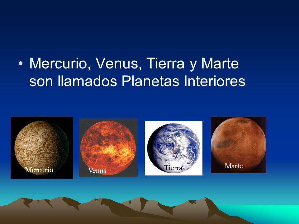 Mercurio, Venus, Tierra y Marte son llamados Planetas Interiores