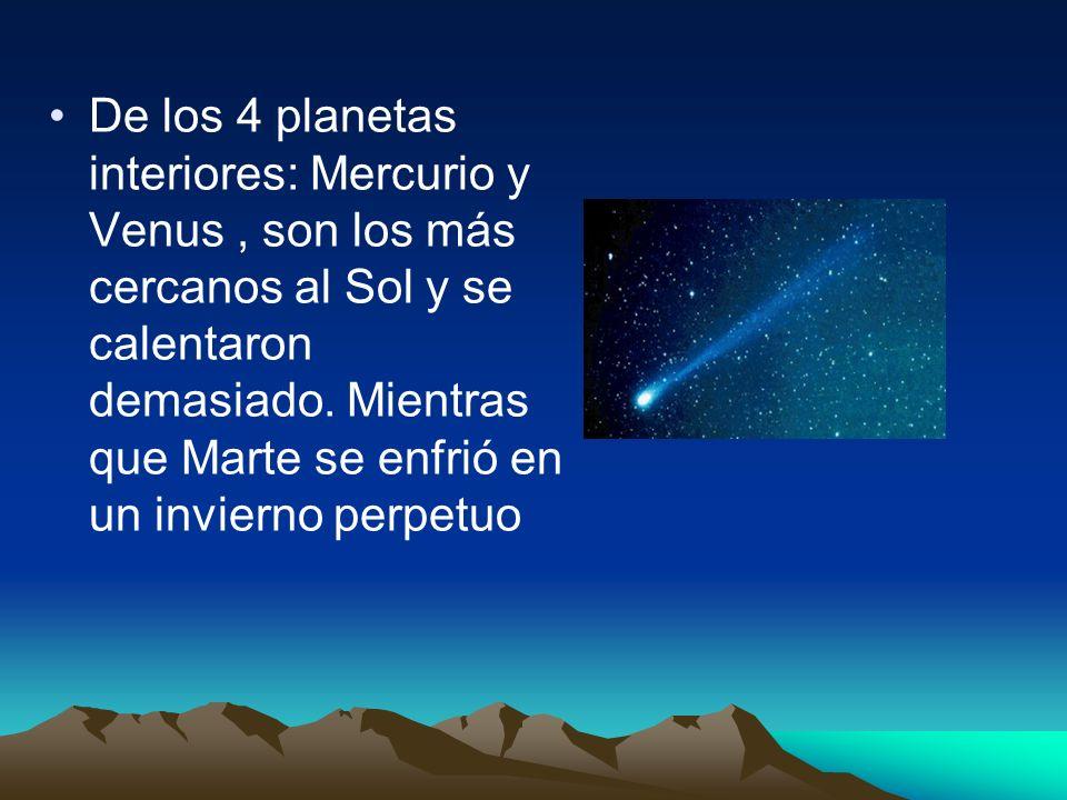 De los 4 planetas interiores: Mercurio y Venus , son los más cercanos al Sol y se calentaron demasiado.