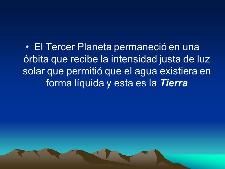 El Tercer Planeta permaneció en una órbita que recibe la intensidad justa de luz solar que permitió que el agua existiera en forma líquida y esta es la Tierra