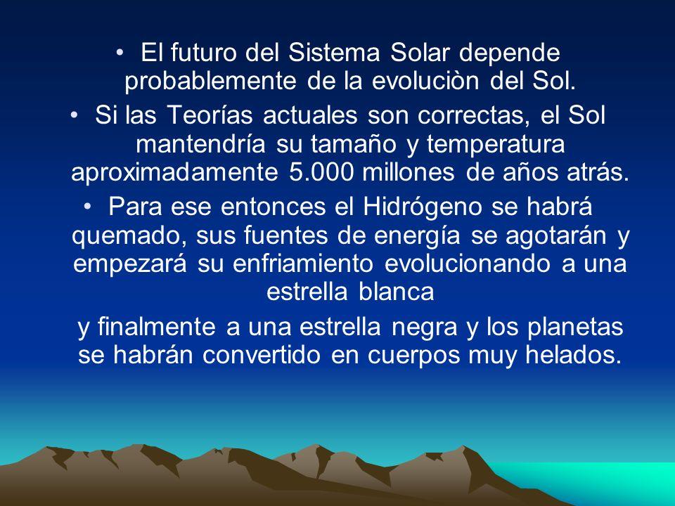 El futuro del Sistema Solar depende probablemente de la evoluciòn del Sol.