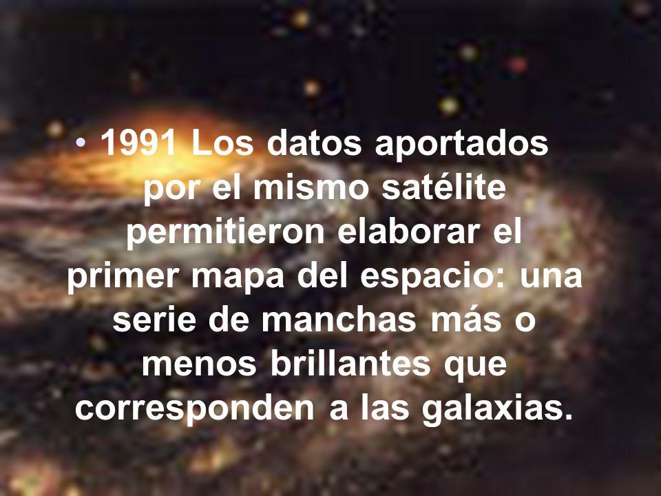 1991 Los datos aportados por el mismo satélite permitieron elaborar el primer mapa del espacio: una serie de manchas más o menos brillantes que corresponden a las galaxias.