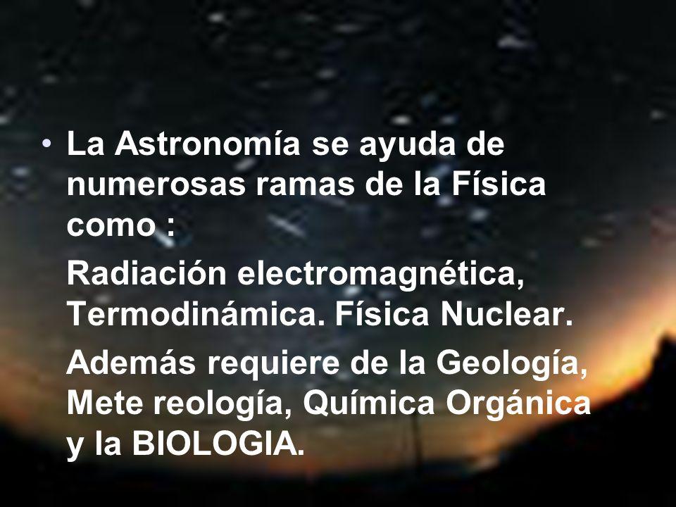 La Astronomía se ayuda de numerosas ramas de la Física como :