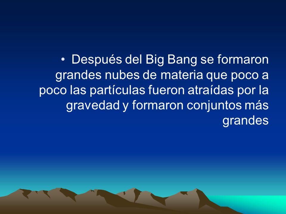 Después del Big Bang se formaron grandes nubes de materia que poco a poco las partículas fueron atraídas por la gravedad y formaron conjuntos más grandes