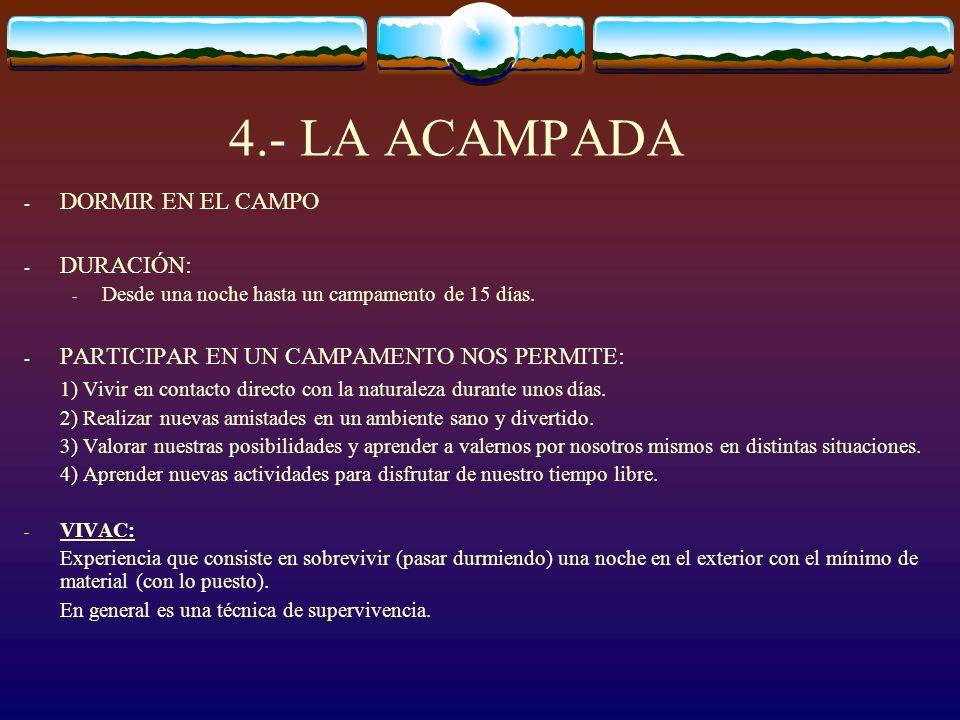 4.- LA ACAMPADA DORMIR EN EL CAMPO DURACIÓN: