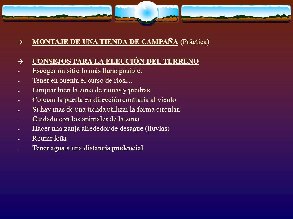 MONTAJE DE UNA TIENDA DE CAMPAÑA (Práctica)