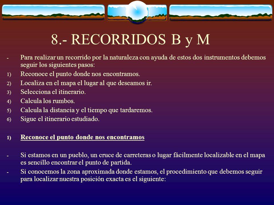 8.- RECORRIDOS B y M Para realizar un recorrido por la naturaleza con ayuda de estos dos instrumentos debemos seguir los siguientes pasos:
