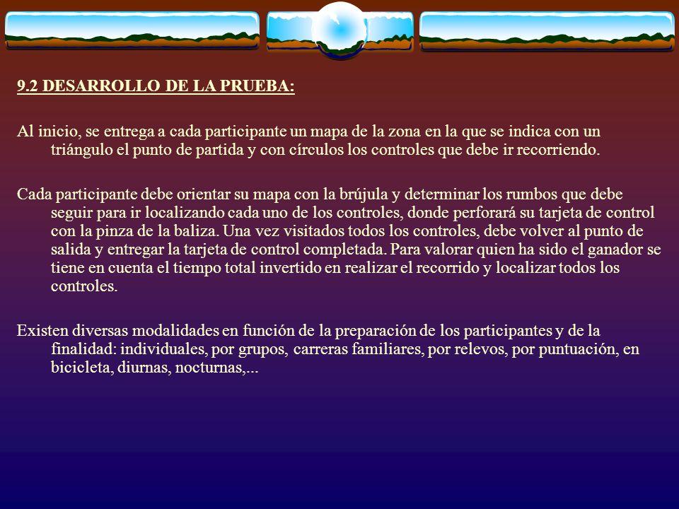 9.2 DESARROLLO DE LA PRUEBA: