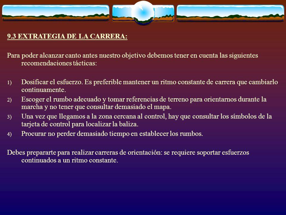 9.3 EXTRATEGIA DE LA CARRERA: