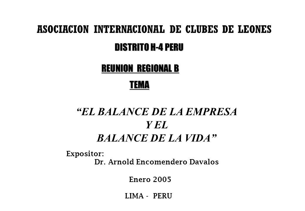 ASOCIACION INTERNACIONAL DE CLUBES DE LEONES EL BALANCE DE LA EMPRESA