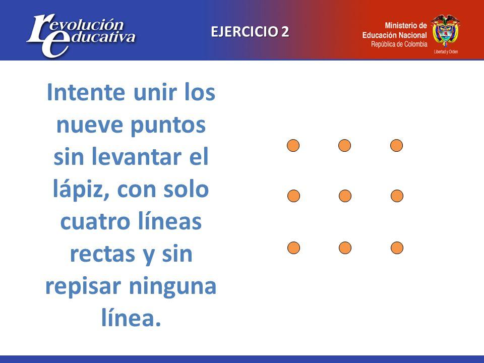 EJERCICIO 2Intente unir los nueve puntos sin levantar el lápiz, con solo cuatro líneas rectas y sin repisar ninguna línea.