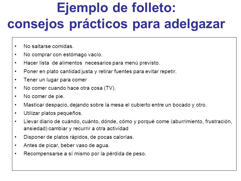 Ejemplo de folleto: consejos prácticos para adelgazar