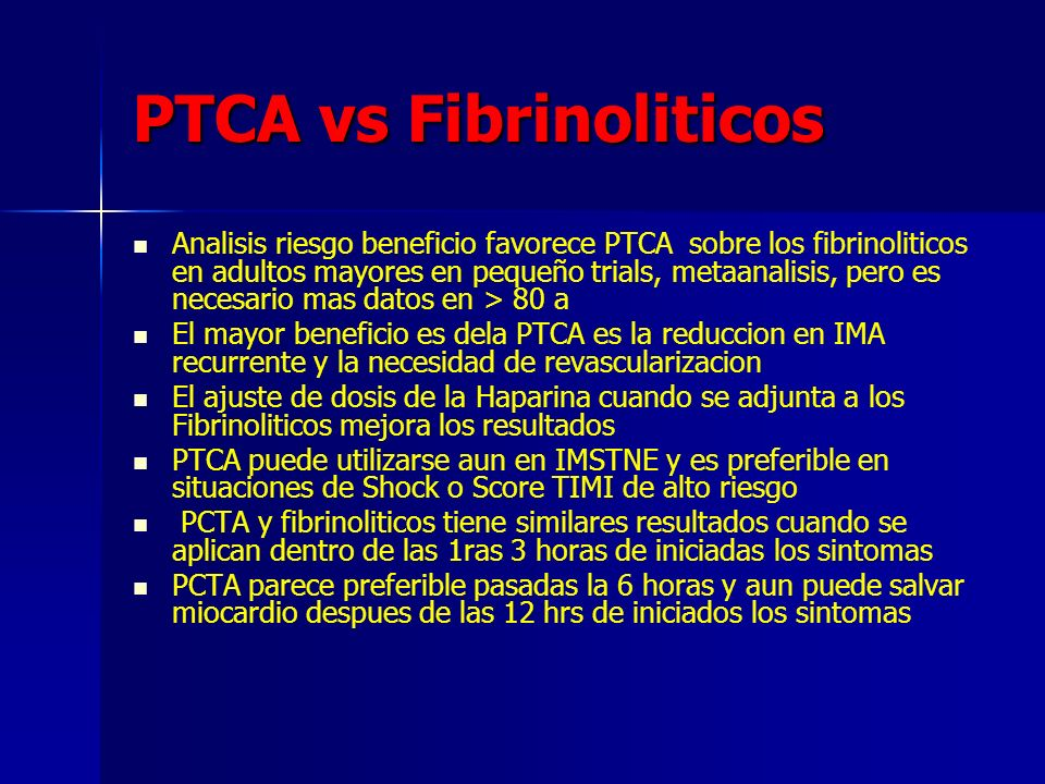 PTCA vs Fibrinoliticos