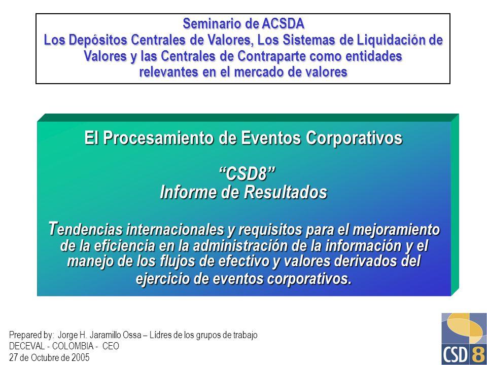 Seminario de ACSDA Los Depósitos Centrales de Valores, Los Sistemas de Liquidación de. Valores y las Centrales de Contraparte como entidades.