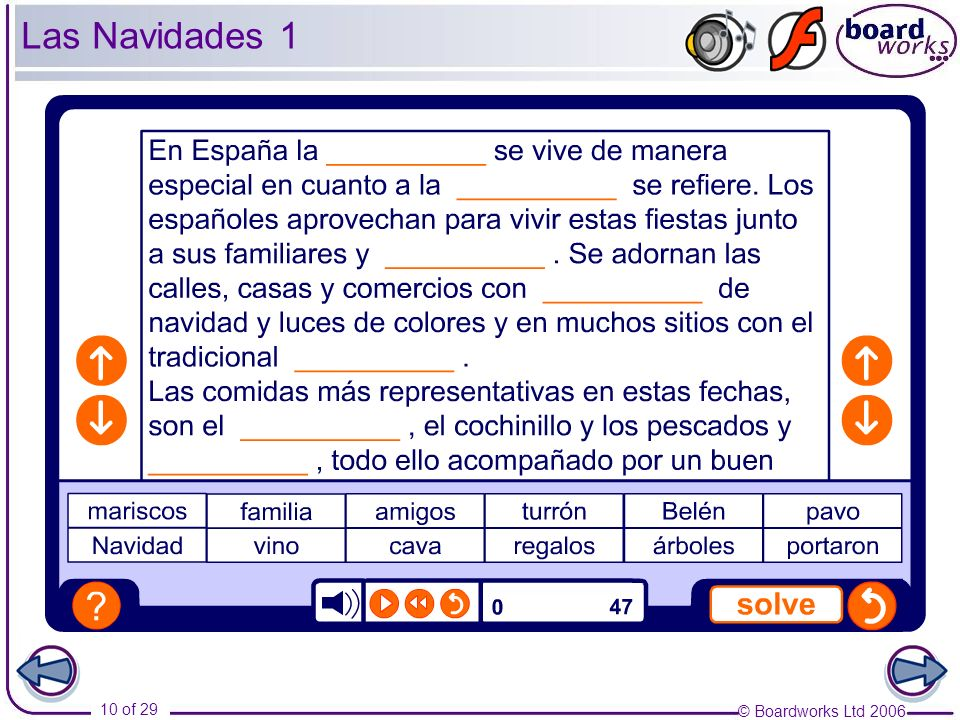 Las Navidades 1 Pupils listen to the description of Christmas in Spain and fill in the blanks, using the words at the bottom.