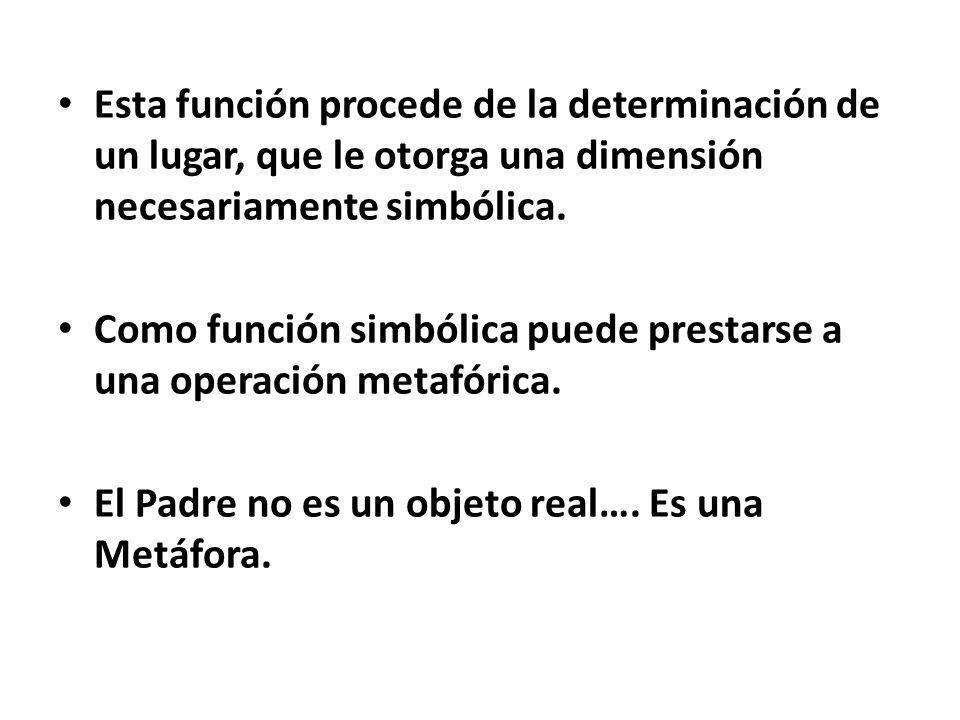 Esta función procede de la determinación de un lugar, que le otorga una dimensión necesariamente simbólica.