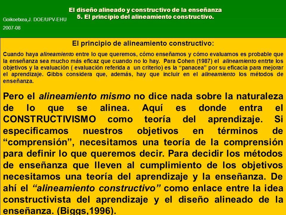 El principio de alineamiento constructivo: