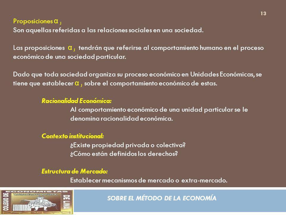 Proposiciones α J Son aquellas referidas a las relaciones sociales en una sociedad.