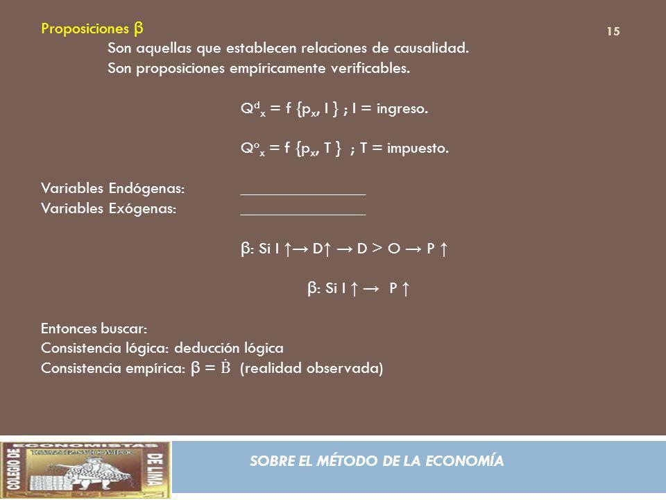 Proposiciones β Son aquellas que establecen relaciones de causalidad. Son proposiciones empíricamente verificables.