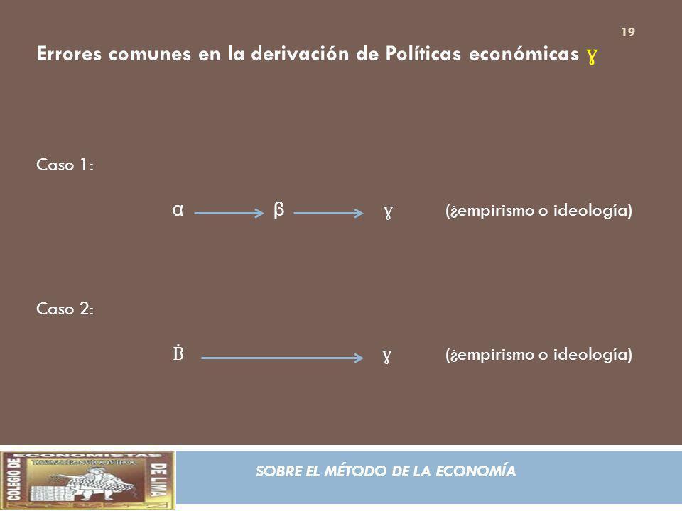 Errores comunes en la derivación de Políticas económicas ɣ