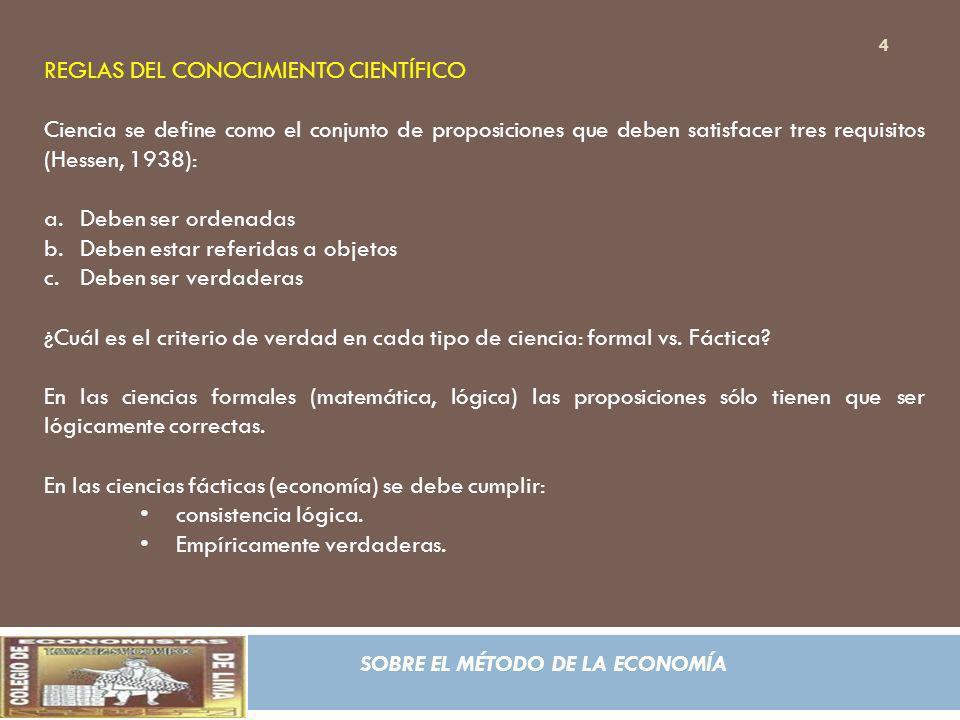 REGLAS DEL CONOCIMIENTO CIENTÍFICO