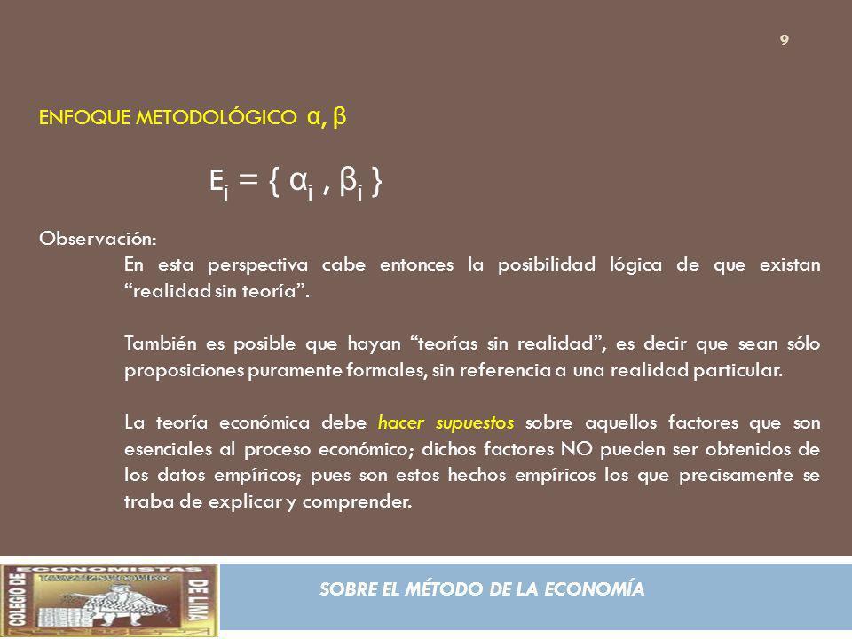 Ej = { αj , βj } ENFOQUE METODOLÓGICO α, β Observación: