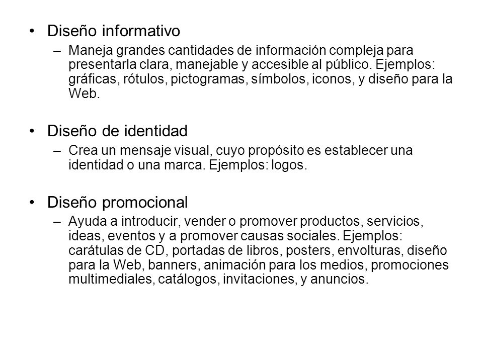 Diseño informativo Diseño de identidad Diseño promocional
