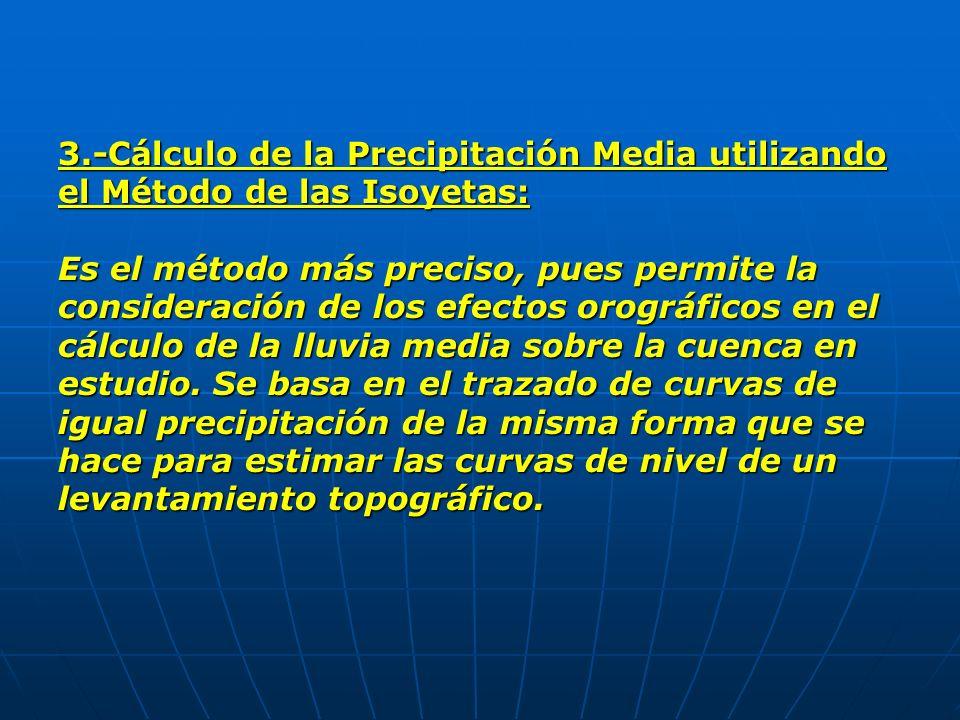 3.-Cálculo de la Precipitación Media utilizando el Método de las Isoyetas: