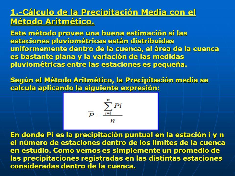 1.-Cálculo de la Precipitación Media con el Método Aritmético.