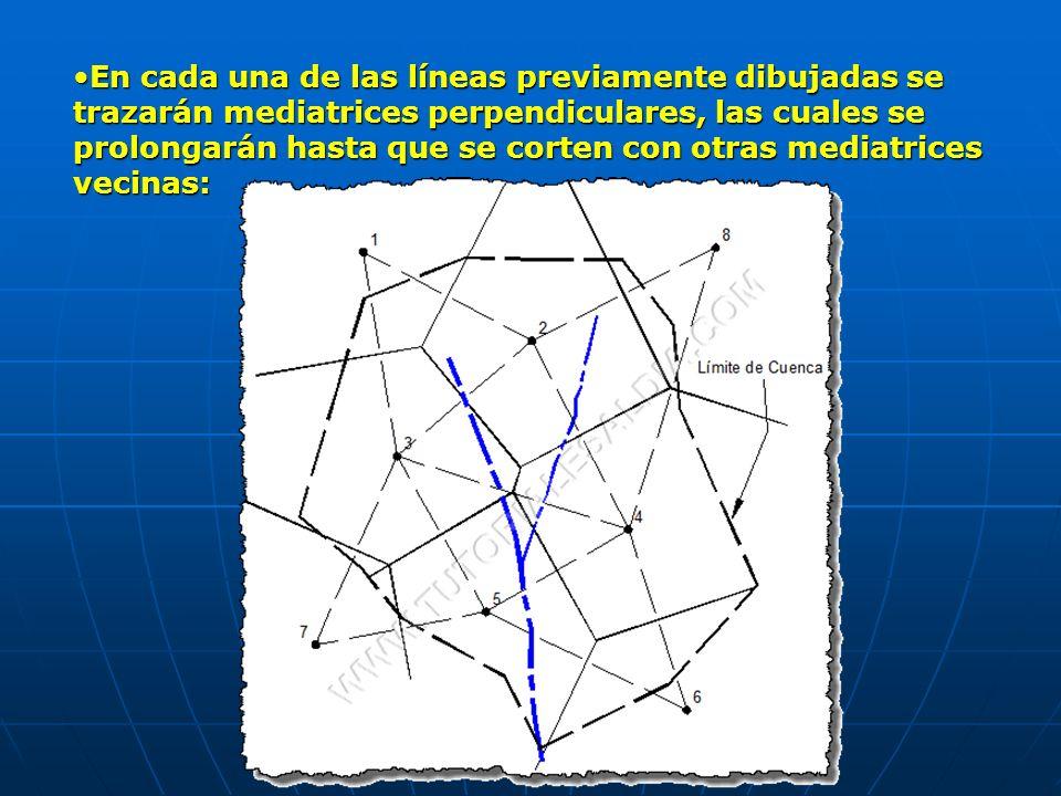 En cada una de las líneas previamente dibujadas se trazarán mediatrices perpendiculares, las cuales se prolongarán hasta que se corten con otras mediatrices vecinas: