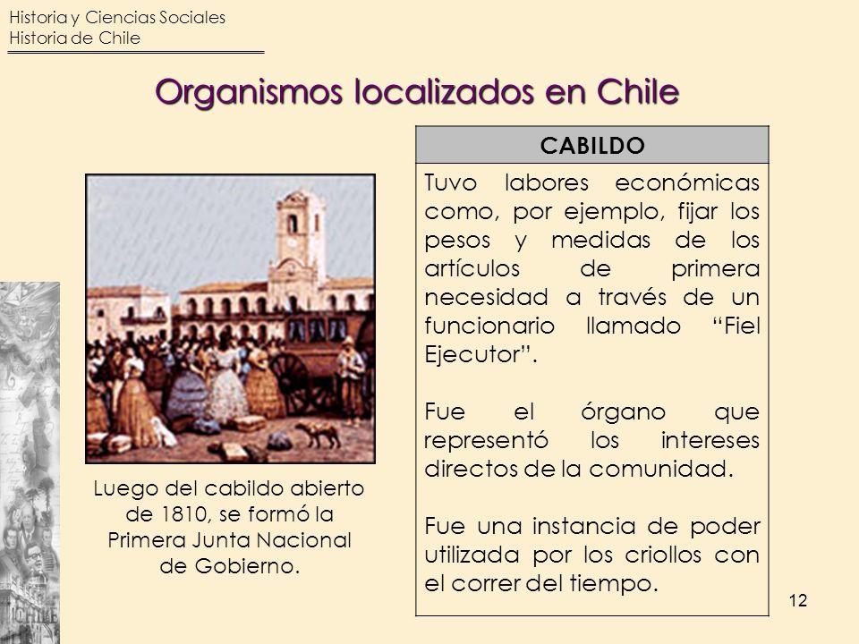 Organismos localizados en Chile
