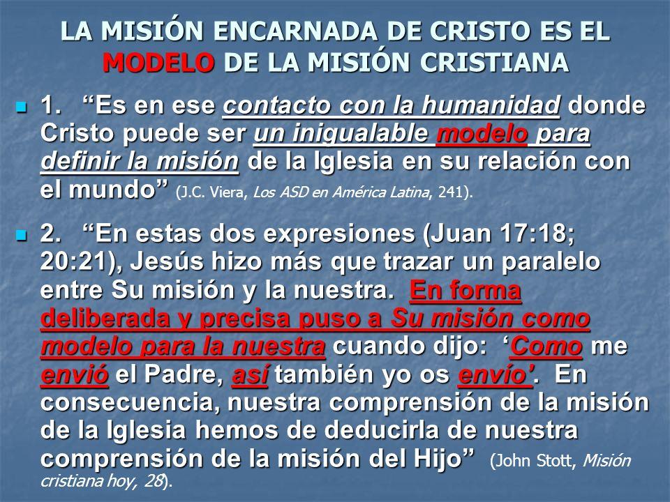 LA MISIÓN ENCARNADA DE CRISTO ES EL MODELO DE LA MISIÓN CRISTIANA