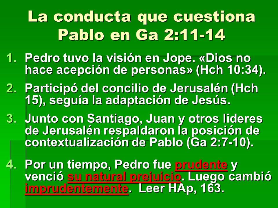 La conducta que cuestiona Pablo en Ga 2:11-14