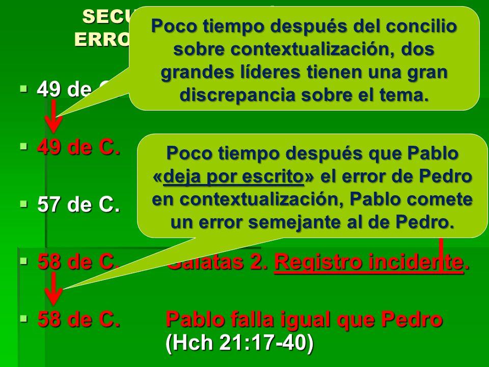 SECUENCIA HISTÓRICA DE LOS ERRORES DE PEDRO Y DE PABLO