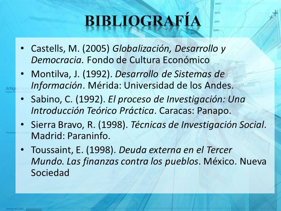 BibliografíaCastells, M. (2005) Globalización, Desarrollo y Democracia. Fondo de Cultura Económico.
