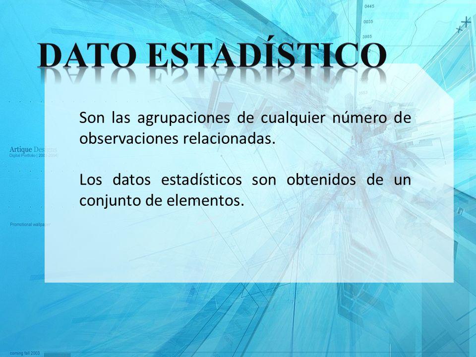 Dato Estadístico Son las agrupaciones de cualquier número de observaciones relacionadas.