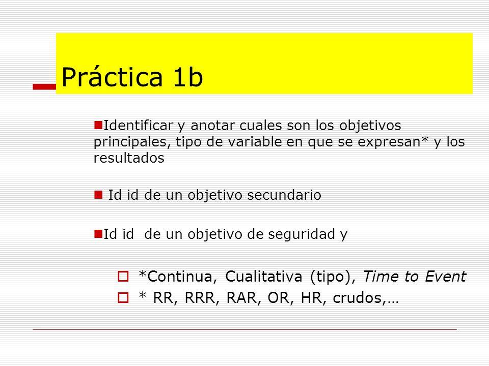 Práctica 1b *Continua, Cualitativa (tipo), Time to Event