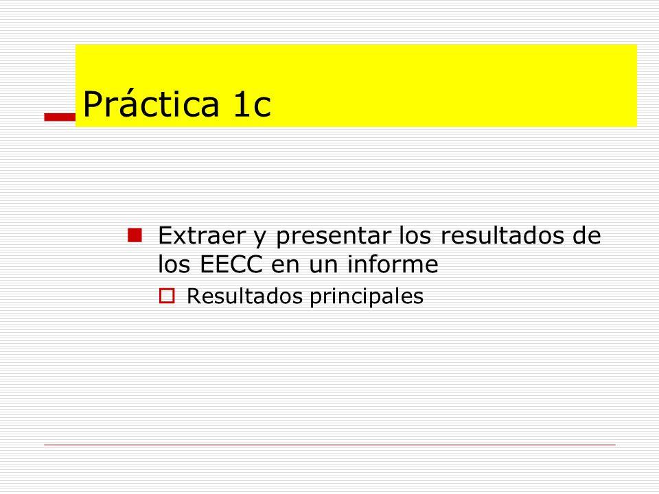 Práctica 1c Extraer y presentar los resultados de los EECC en un informe Resultados principales