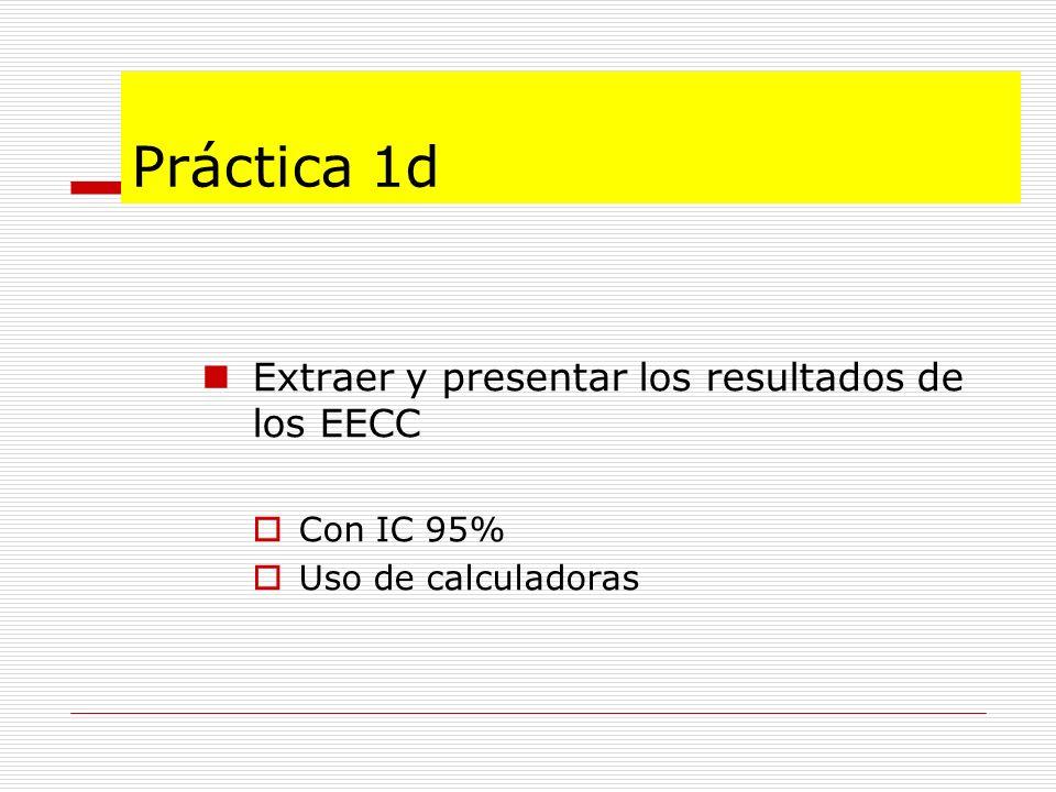 Práctica 1d Extraer y presentar los resultados de los EECC Con IC 95%