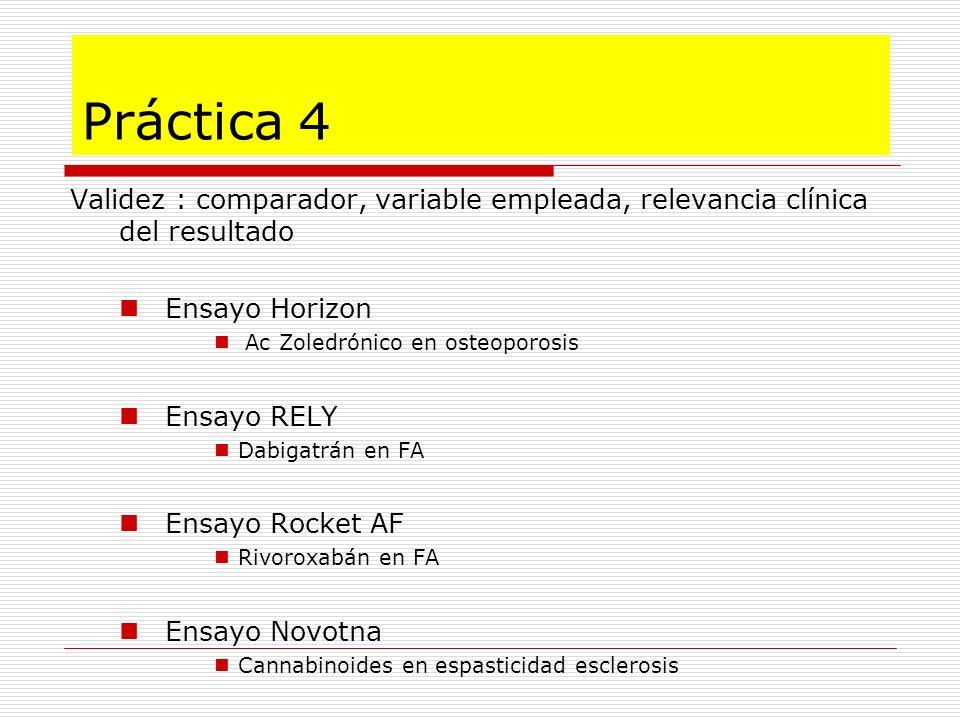 Práctica 4Validez : comparador, variable empleada, relevancia clínica del resultado. Ensayo Horizon.