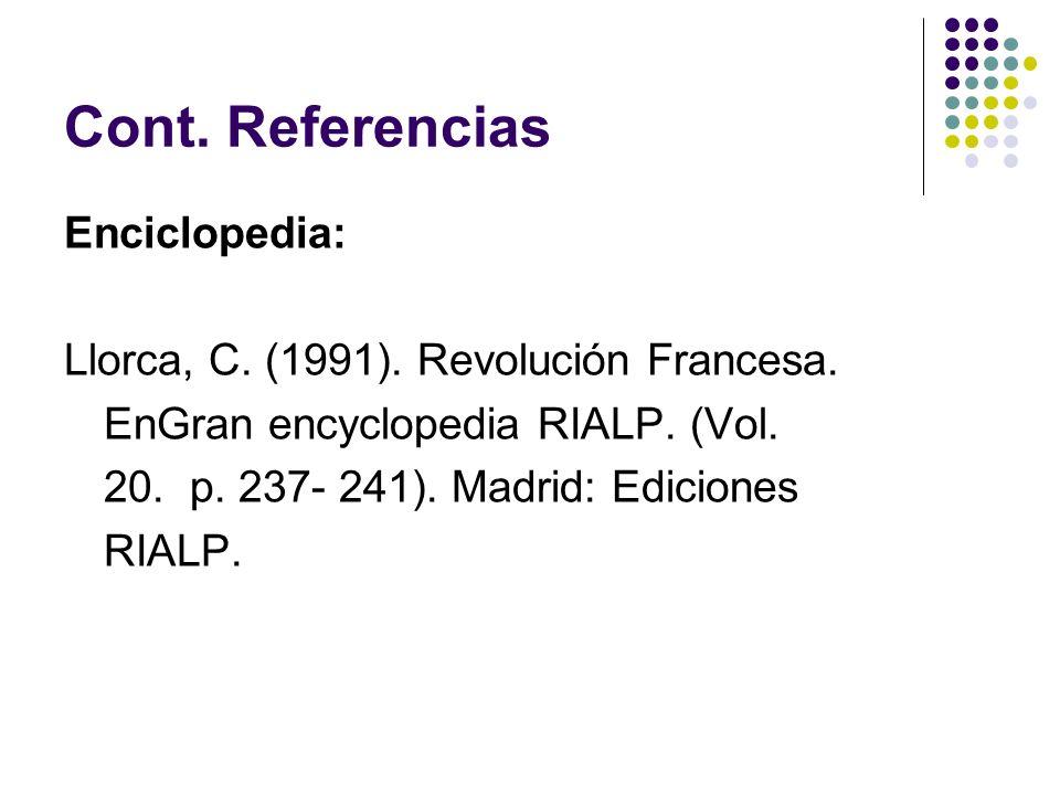 Cont. Referencias Enciclopedia: