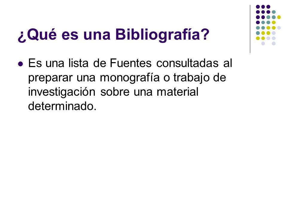 ¿Qué es una Bibliografía