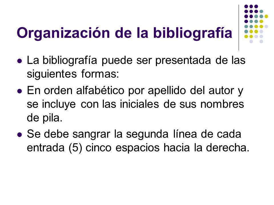 Organización de la bibliografía