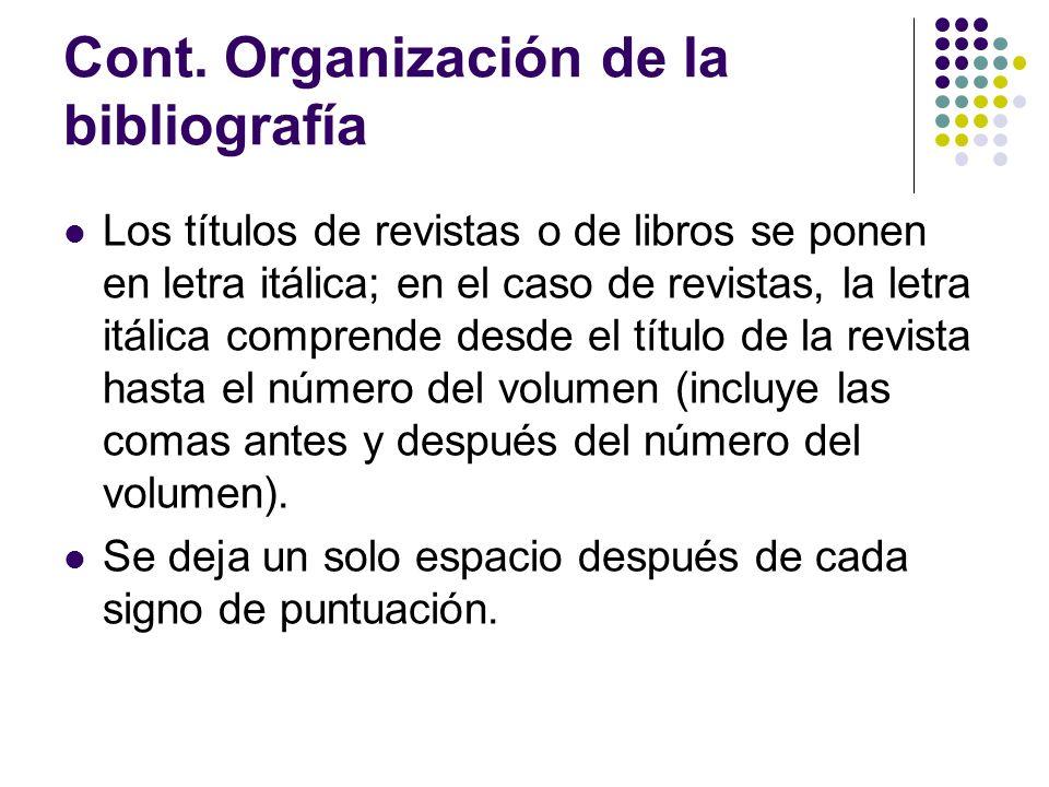 Cont. Organización de la bibliografía